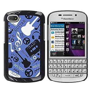 Design for Girls Plastic Cover Case FOR BlackBerry Q10 Music Guitar Hippy Pattern OBBA
