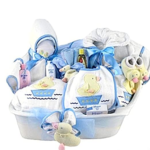 Amazon pampered new baby boy bath time gift basket great amazon pampered new baby boy bath time gift basket great shower gift idea for newborns baby negle Image collections