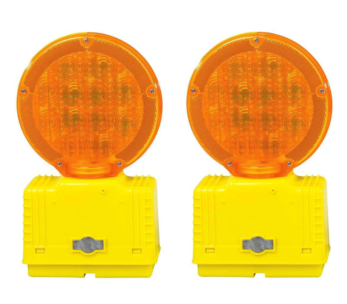 Cortina 03-10-3WAYDC Polycarbonate LED Barricade Light with Photocell, 6 VDC, Amber (Pack of 2)