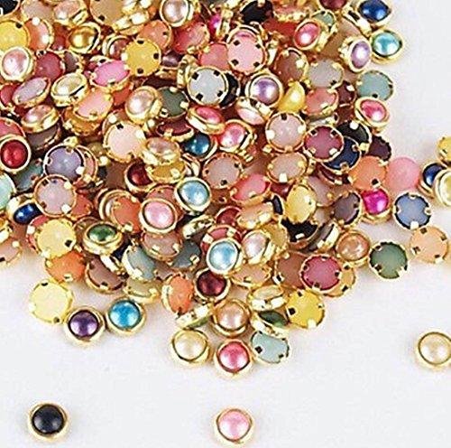 120 PcsDelicate Popular 3D Alloy Pearls Studs Random Mixed Nail Art Cellphone Decor Manicure Accessory Salon Supplies Multi-Color - And Gabbana Dulce