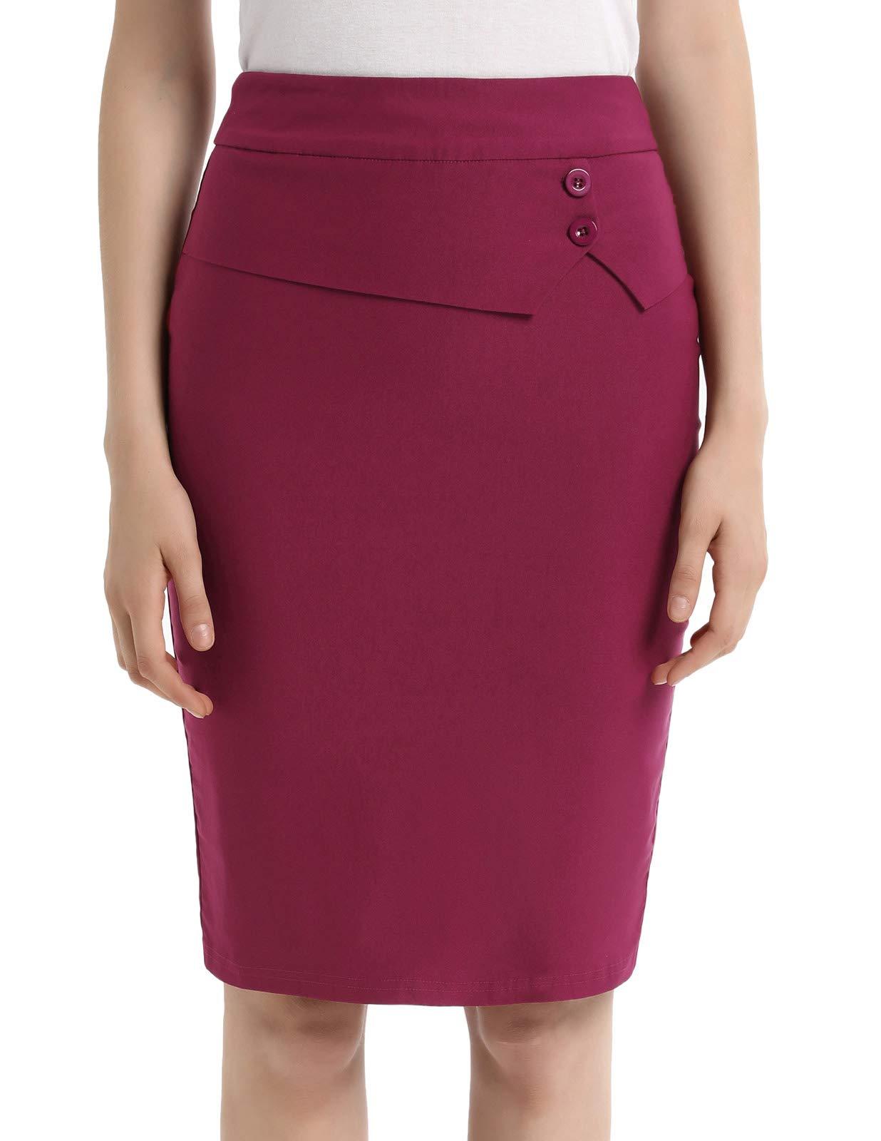 79956e3dd1eb52 Women Business Slim Bodycon Pencil Skirts Elastic Stretch Midi Skirt Red XXL