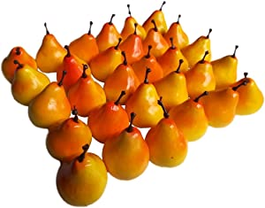 "Lorigun 30pcs Artificial Lifelike Simulation 1.3"" Mini Pears Fake Fruits Photography Props Model"