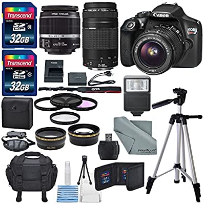 Canon EOS Rebel T6 DSLR Camera with EF-S 18-55mm f/3.5-5.6 IS II Lens, EF 75-300mm f/4-5.6 III Lens, and Deluxe Accessory Bundle by Canon