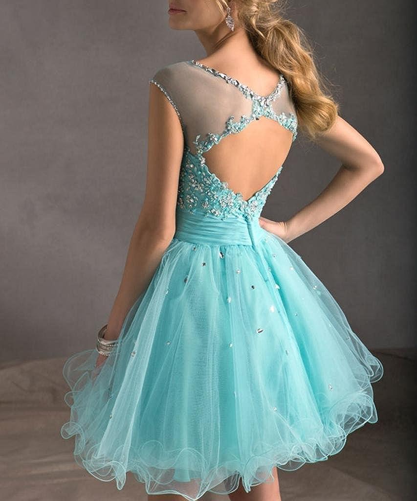 Dearta Women\'s Scoop Neck A-Line Short Tulle Dress at Amazon Women\'s ...