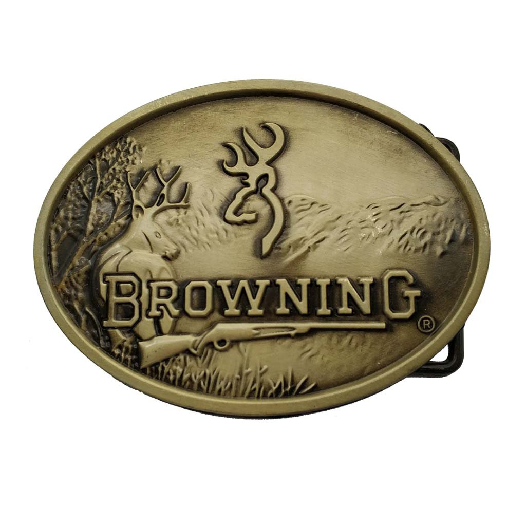 Deer Browning Hunting Belt Buckle Bronze 1-ONE