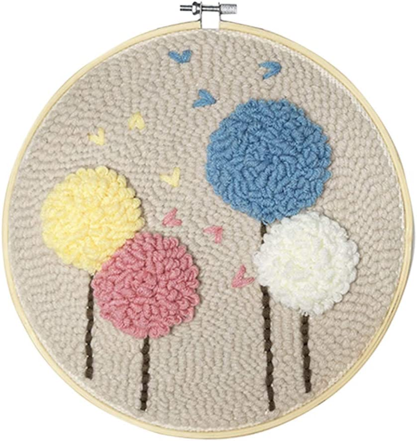 Flower HMANE DIY Rug Hooking Kit Handcraft Woolen Embroidery Knitting with Punch Needle Embroidery Frame Creative Gift with 23 x 23cm Embroidery Frame Punch Needle