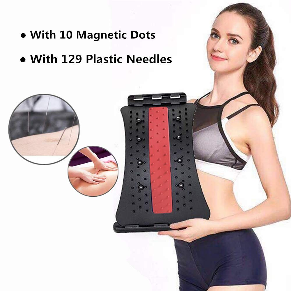 Multi-Level Lumbar Support Back Hero Back Massage Stretcher Arch with Magnetic Acupressure Points Black//Red Lower and Upper Back Pain Relief Mate Spine Deck Back Stretcher for Pain Relief