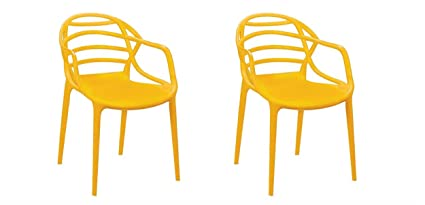 Cello. Atria Cafeteria Plastic Chairs, Yellow  Set of 2 Living Room Furniture