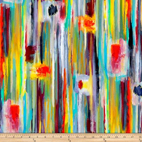 P & B Textiles Printemps Digital Staggered Stripe Multi Fabric By The Yard -  26737-4732-MUL1
