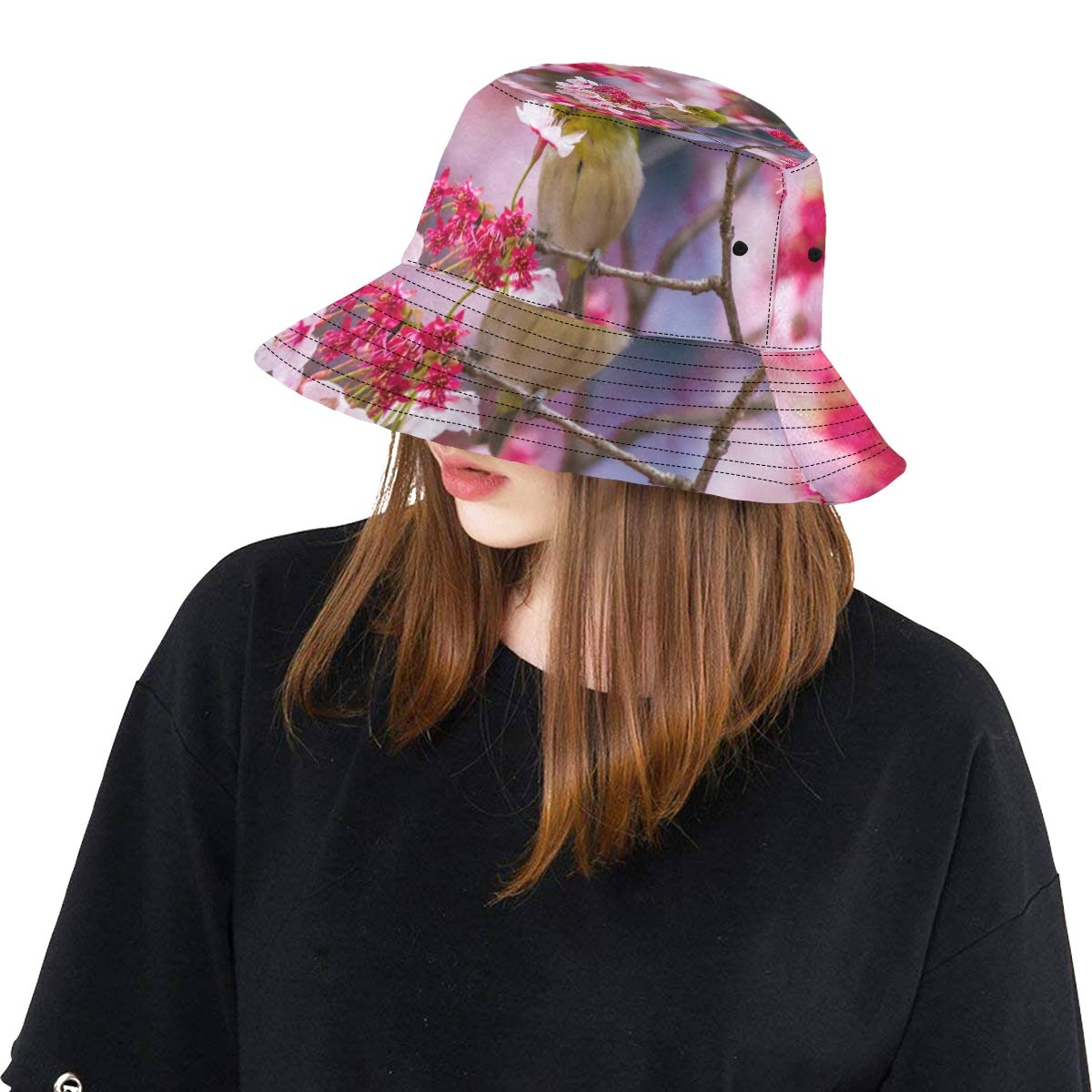 Women and Men with Customize Top Packable Fisherman Cap for Outdoor Travel Japanese Bird with Sakura New Summer Unisex Cotton Fashion Fishing Sun Bucket Hats for Kid Teens