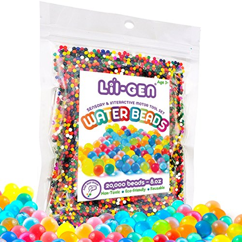 Li'l Gen Water Beads, Non-Toxic Water Sensory Toy for Kids - 20,000 Beads for Fine Motor Skills and Early Skill (Lil Pearl)