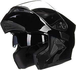 ILM Motorcycle Dual Visor Flip up Modular Full Face Helmet DOT 6 Colors (M, Gloss Black)