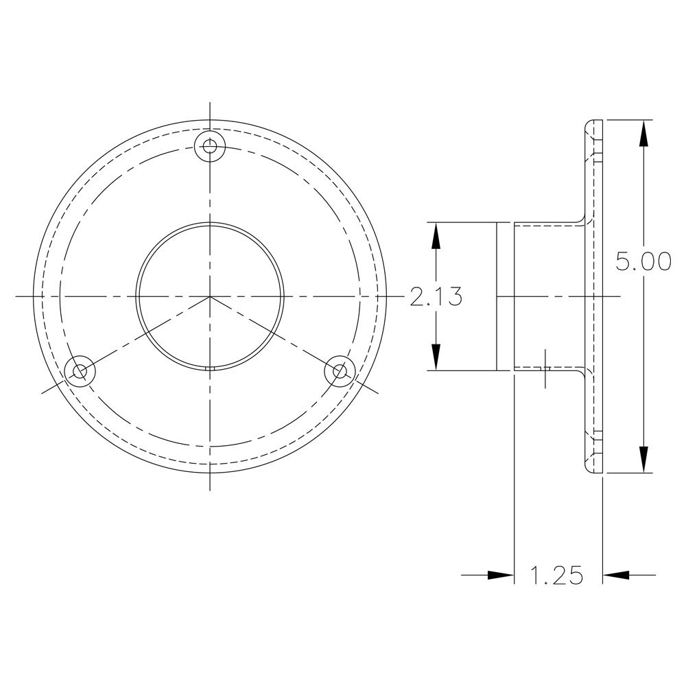 Floor Flange For Dancer Pole - Polished Stainless Steel - 2'' OD