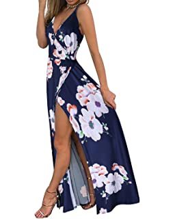c28cd14644f8 II ININ Women s Deep V-Neck Strap Casual Floral Print Maxi Split Dress