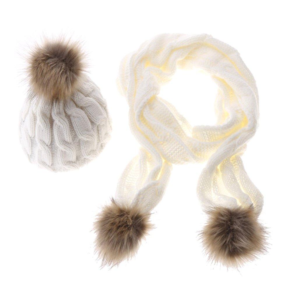 Jelinda Femmes Filles Tricot Beanie Hat Echarpe Gants Chaud Automne Hiver  Set Thermique (blanc)  Amazon.fr  Vêtements et accessoires d5ce622e2d7