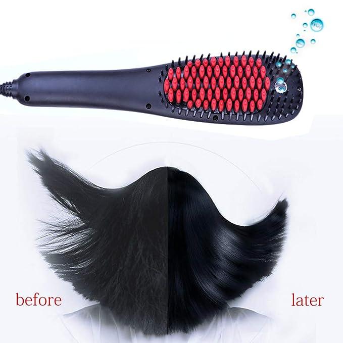 Cepillo alisador de cabello - Peine alisador eléctrico con indicador de temperatura LCD 150W calentamiento rápido y control de temperatura para hombres y ...