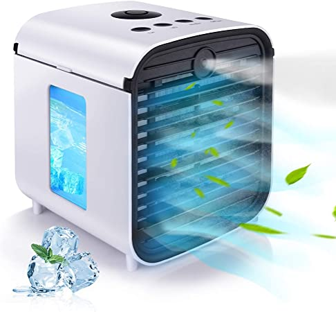 Hisome Aire Acondicionado Móvil Mini Enfriador de Aire Evaporativo 3 en 1 Ventilador, Humidificador, Purificador de Aire y Difusor de Aroma 3 Velocidades 7 Colores Luces LED para Casa/Oficina: Amazon.es: Hogar