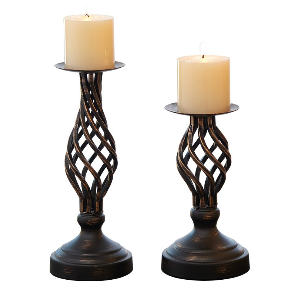Hollow Candle Holder Set of 2, Home Decor Pillar Candles Stand, Rustic Decorated Holders for Fireplace, Living Room or Dining Table