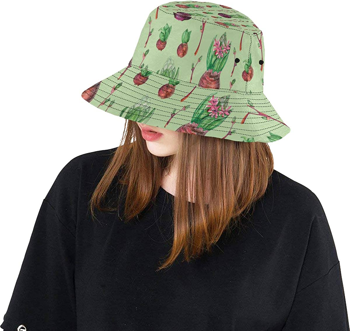Top Hats Summer Unisex Bucket Hat Hyacinth Romantic Flowers Reversible Fisherman Cap Travel Fishing Picnic Caps for Lady Fisherman