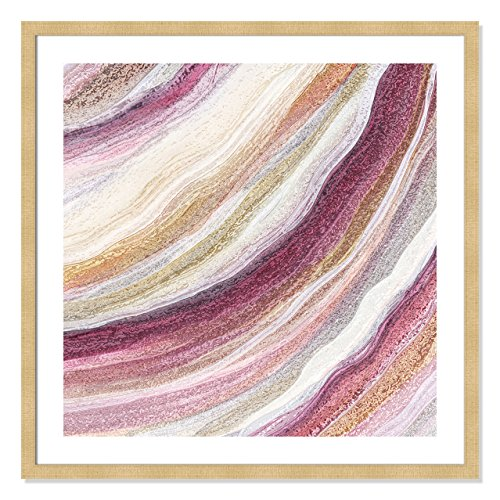 Gold Agate Red (Casa Fine Arts Modern Agate Red Tones Framed Wall Art, Gold)