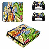 Cosines PS4 Slim Stickers Vinyl Decal Protective Console Skins Cover for Sony Playstation 4 Slim and 2 Controllers Dragon Ball Super Saiyan Goku Hero Anime Mix