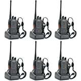 Baofeng BF-888S UHF 400-470MHz 16CH CTCSS/DCS With Earpiece Handheld Amateur Radio Walkie Talkie 2 Way Radio Long Range, Black (6 Pack)
