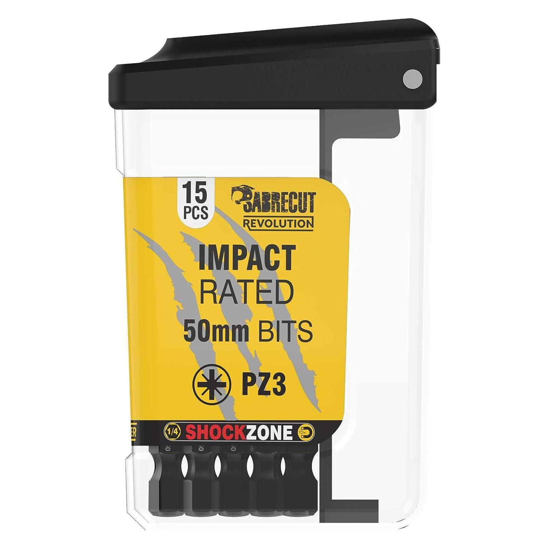 SabreCut SCRPZ35015B Juego de 15 puntas de destornillador de impacto magn/éticas PZ3 de 50 mm en una caja de TIC para Dewalt Milwaukee Bosch Makita y otros resistentes Pozi Pozidrive