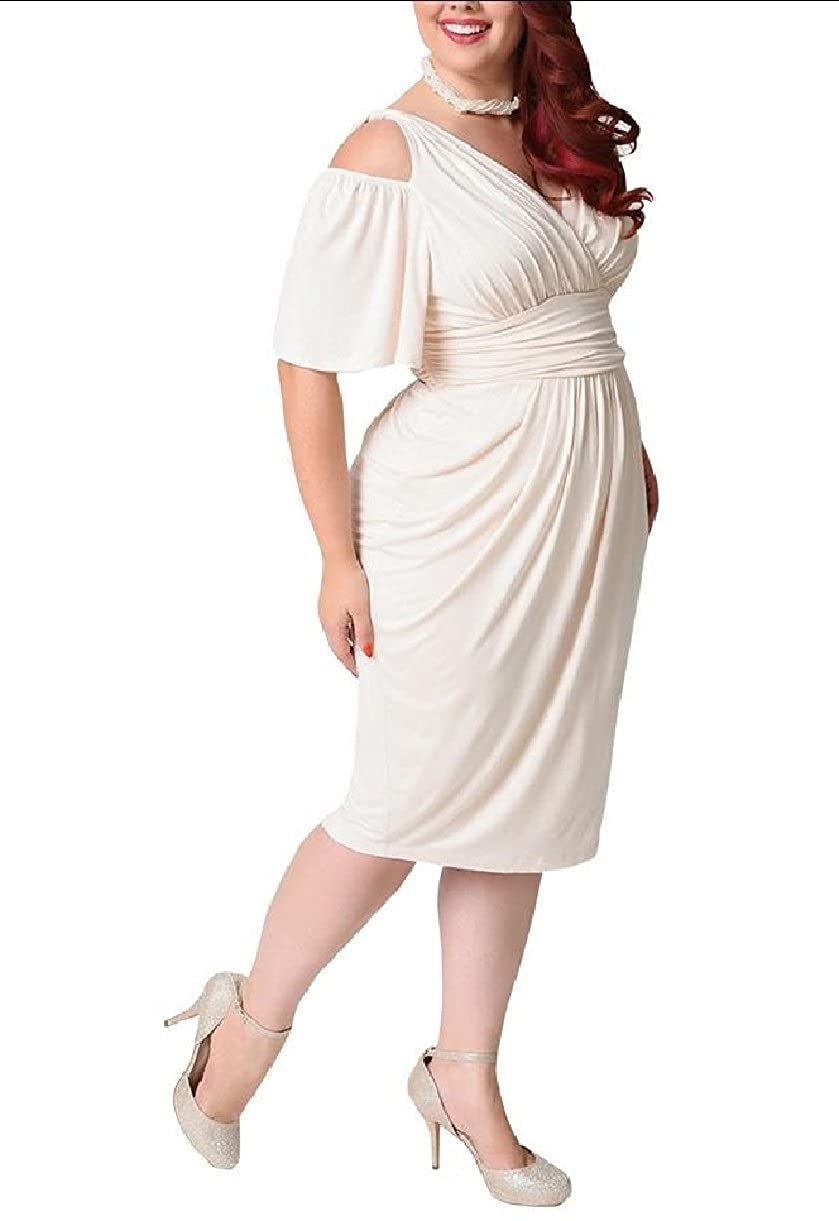 SportsX Womens Tunic Solid Stretch Elegant Plus-Size Ruffle Dresses