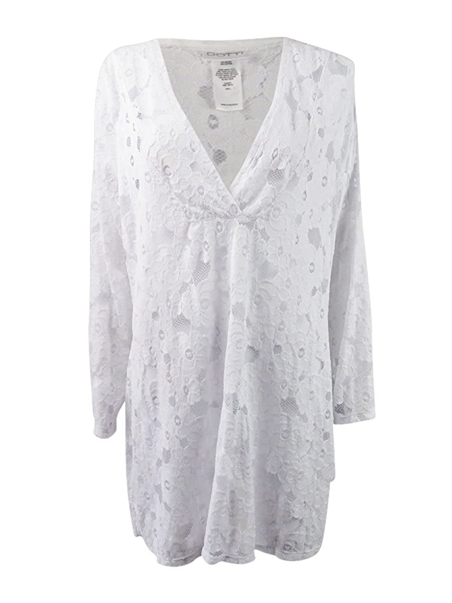 be00f6a688 Dotti Island Breeze Floral Textured Tunic Large at Amazon Women's Clothing  store:
