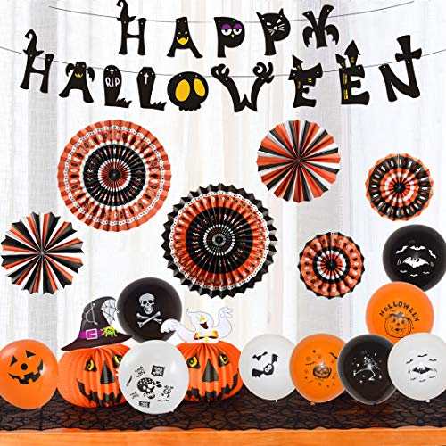 Halloween Party Supplies Hanging Paper Fans Honeycomb Balls Tissue Pom Pom Banner Tassel Garland Balloon Set Decoration Black Orange (Halloween Style 2)]()