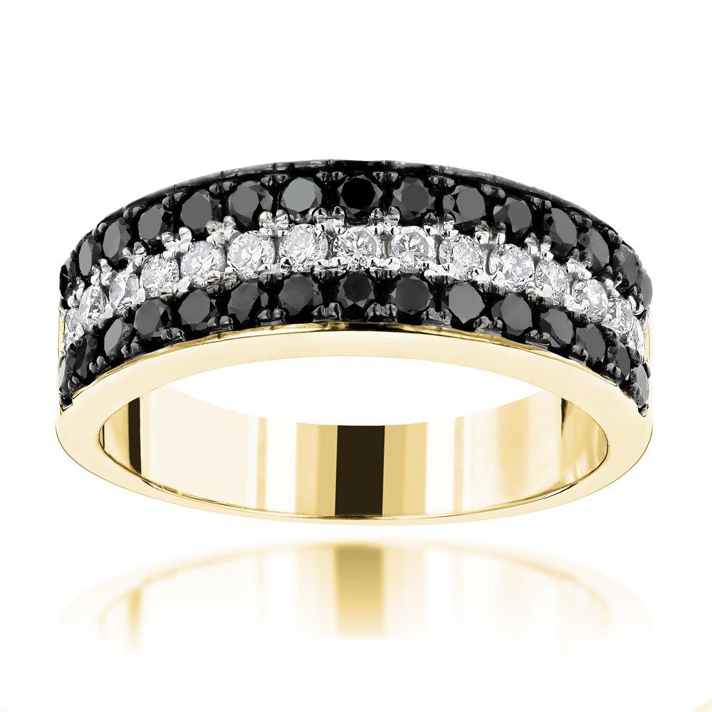 Luxurman Unique 10K 3 Row White Black 1.3 Ctw Natural Diamond Wedding Band (Yellow Gold Size 9)