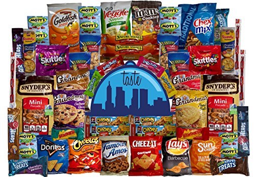 Taste Box Care Package 50 Count Super Snack Sampler of Bars, Cookies, Chips, Candy, and Snacks for Office, School, Friends, Family, and College Variety (Collage Package)
