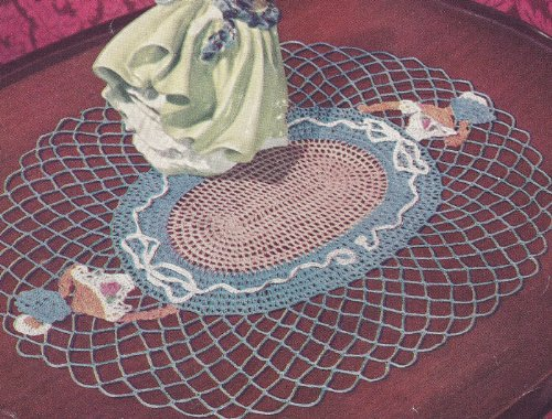 Vintage Crochet Pattern to make - Crinoline Lady Oval Doily Motif. NOT a finished item. This is a pattern and/or instructions to make the item only.