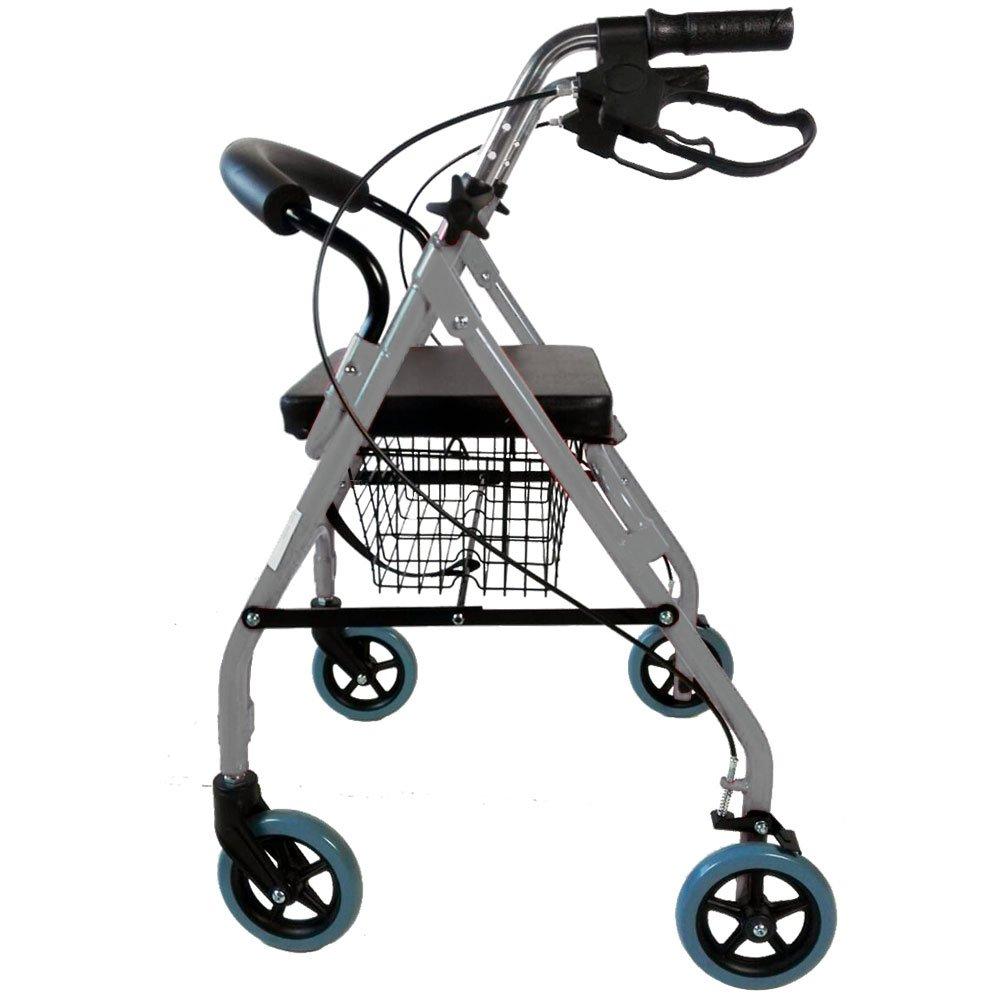 Mobiclinic Andador para Ancianos de 4 Ruedas | Rollator Deluxe Plegable | Regulable en Altura | Incluye Cesta | Elegante Color Gris | Peso máximo soportado ...