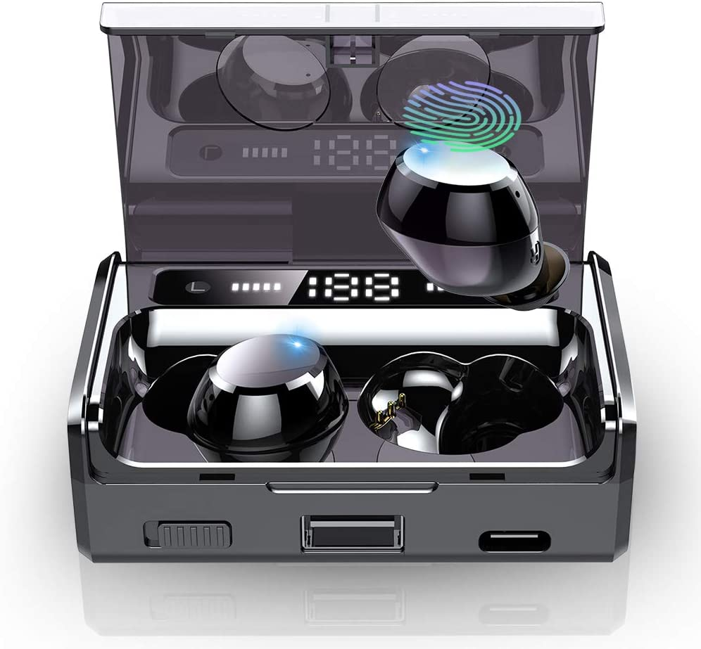 Wireless Earbuds, IPX7 Waterproof Bluetooth 5.0 Headphones w Mic, 160H Playtime 3500mAh LED Charge Case with Flashlight HD Stereo Sound Auto-Pairing Touch-Control True Wireless Earbuds for Android iOS