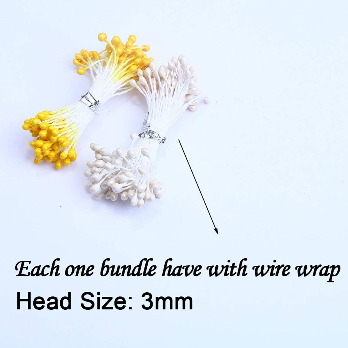 Queenbox 500pcs Double Heads 3mm Pearl Flower Stamen floral Pistil for Sewing Card Making Wedding Decor Craft Making DIY Supply