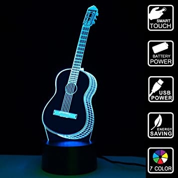 Amazon 3d guitar led night light multi 7 color changing touch 3d guitar led night light multi 7 color changing touch switch optical table lamp usb powered aloadofball Image collections