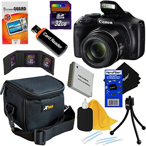 Canon Powershot SX540 HS 20.3MP Digital Camera with 50x Optical Zoom, Built-in Wi-Fi & Full HD 1080p Video (International Version) + NB-6L Battery + 8pc 32GB Accessory Kit w/HeroFiber Cleaning Cloth For Sale