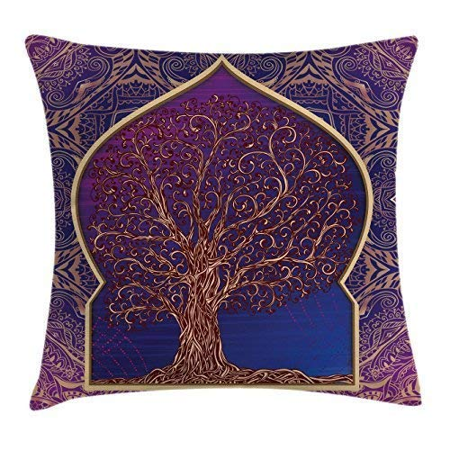 (Ethnic Throw Pillow Cushion Cover Tree with Curved Leafless Branches Middle Eastern Moroccan Arch Retro Art Design Decorative Square Pillow Case 18 X 18 Inches Purple Blue)