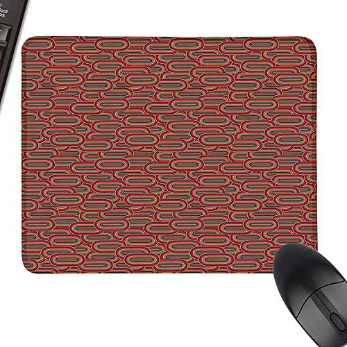 Geometric Waterproof Mousepad Vintage Mixed Inner Oval Creative Figures Horizontal Rounds in Various Tones with Stitched Edges 23.6