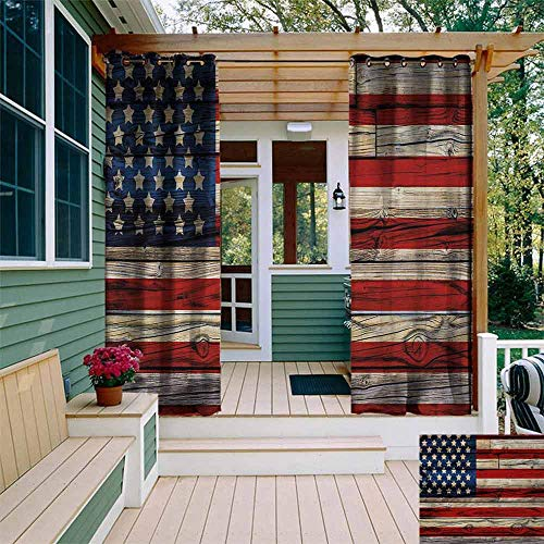 Sunnyhome 4th of July,Outdoor Grommet Top Curtain Panel,Wooden Planks Painted as United States Flag Patriotic Country Style,Grommet Curtains for Bedroom,W108x108L,Red Beige Navy Blue (94 Country With Blue On Its Flag)