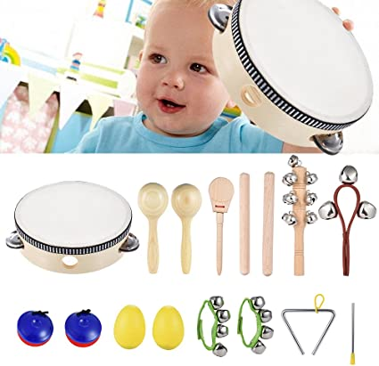 20x Kinder Musikinstrumente Holz Percussion Set Schlagzeug Rhythmus Spielzeug