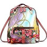 HEYFAIR Women's Floral Genuine Leather Backpack Daypack Shoulder Bag