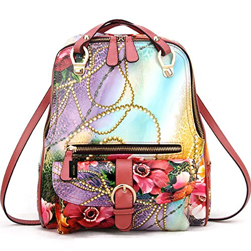 HEYFAIR Women's Floral Genuine Leather Backpack Daypack Shoulder Bag by HEYFAIR