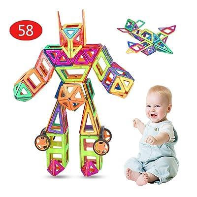 ZHANG Bloques de construcción magnéticos(58 Piezas), Bloques de construcción magnéticos 3D Juego de inspiración de construcción estándar para niños,Juguetes educativos creativos para niños: Hogar