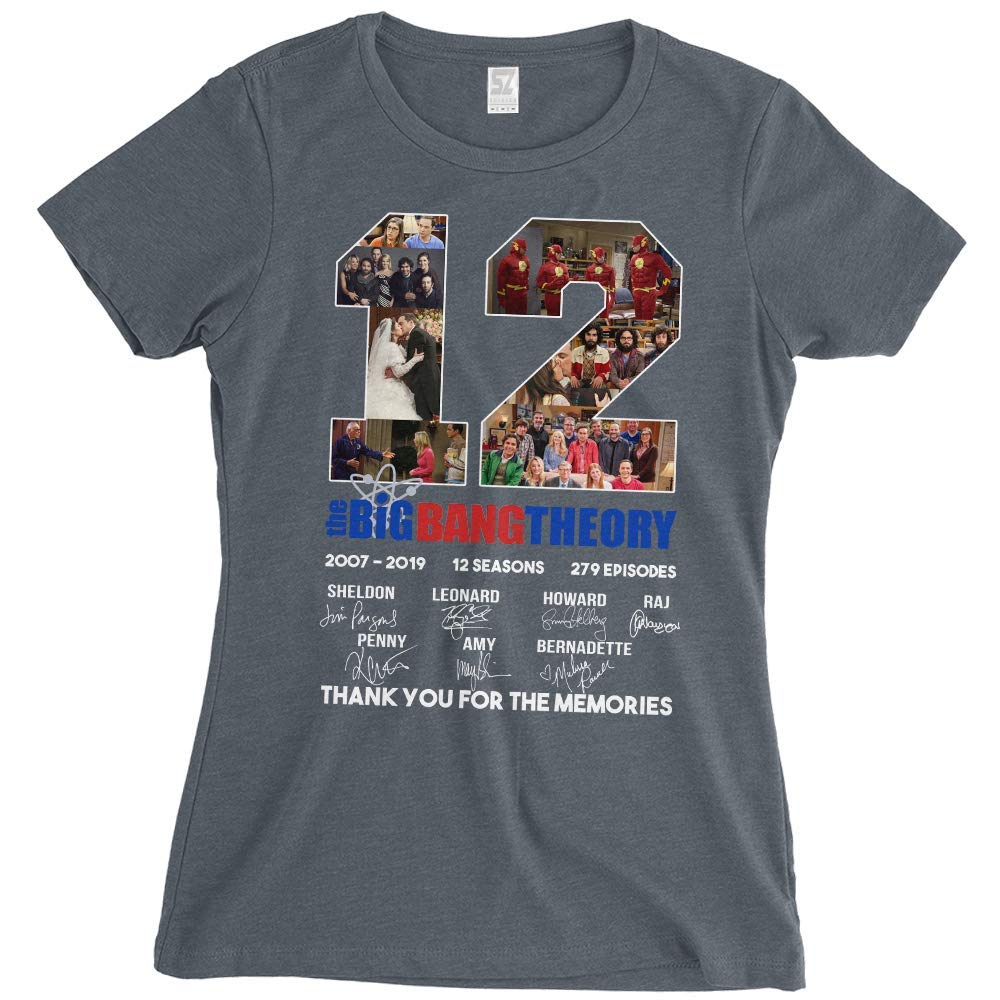 e2477cc9c73 Amazon.com: 12 Years The Big Bang Theory Thank You for The Memories Woman T- Shirt: Clothing