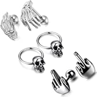 Cupimatch 3 Pairs Mens Gothic Punk Rock Stainless Steel Middle Finger Skull Claw Stud Earrings Endless Hoop Earrings