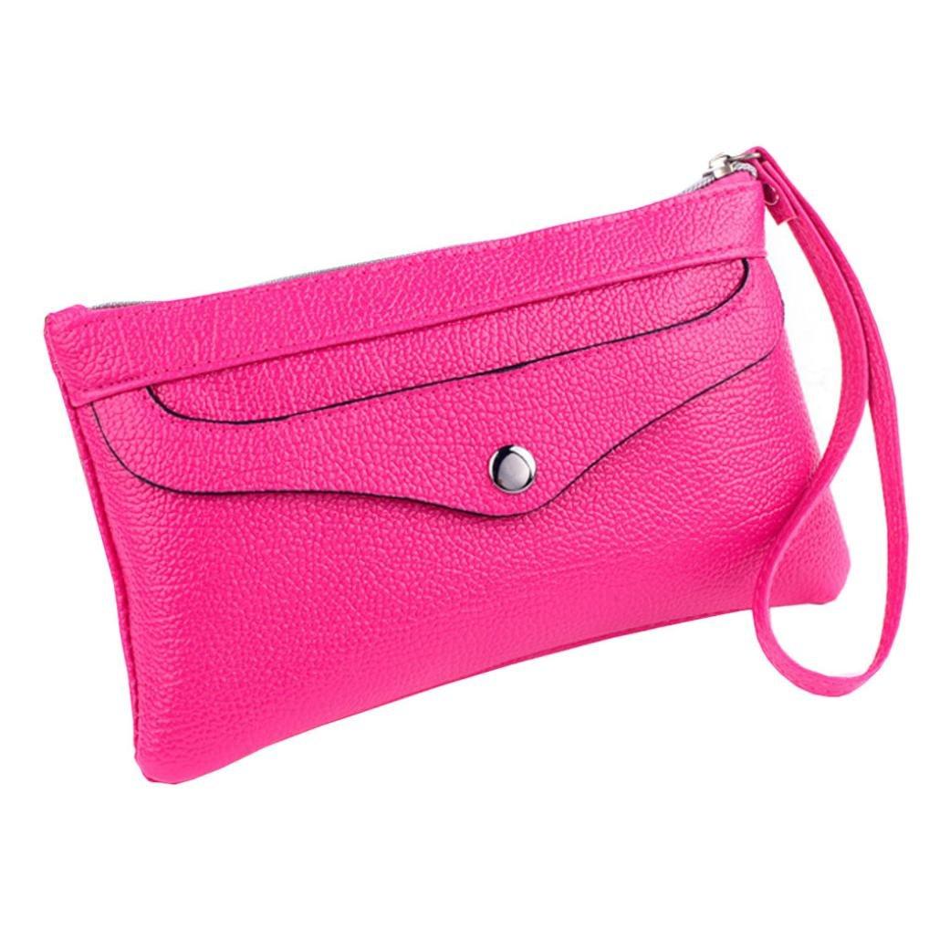 Womail Women Zipper Long Wallet Card Coin Change Holder Clutch Handbags (Hot pink)
