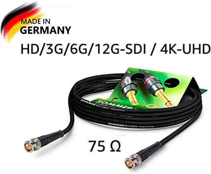 TALLA 0,5 m. SommerCable - Cable de Video Coaxial BNC 75 Ω - HD/3G/6G/12G-SDI / 4K-UHD SC-Vector 0.8/3.7 - BNC/BNC Hicon, Negro (0,5m) - Made in Germany by Sommer Cable