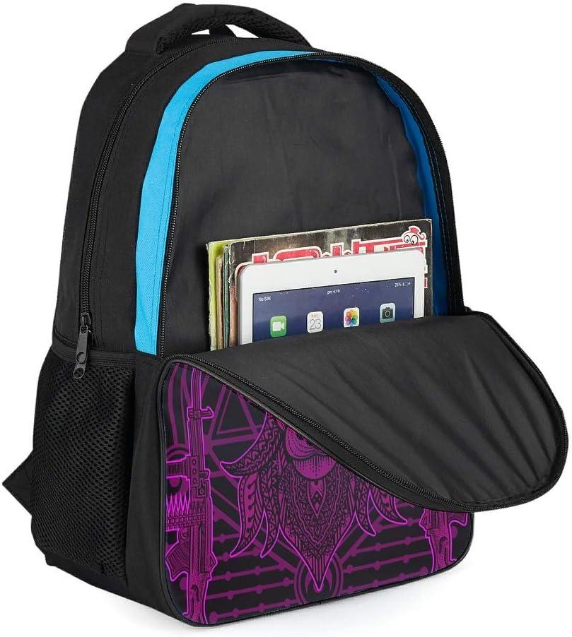 Elch Mandala Sac /à Dos d/écolier pour Enfant avec Compartiment pour Ordinateur Portable Violet Gris Gris Taille Unique
